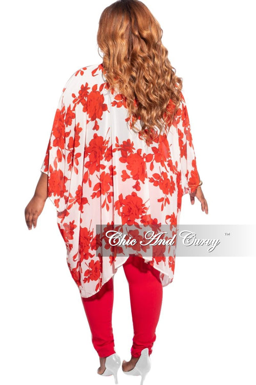 Final Sale Plus Size 3/4 Sleeve Chiffon Duster in Ivory and Red Floral Print