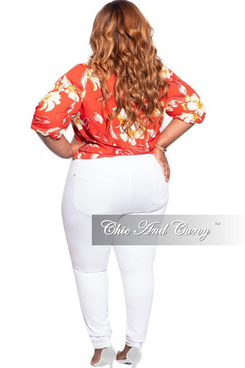 New Plus Size Faux Wrap Top in Tomato Red Floral Print