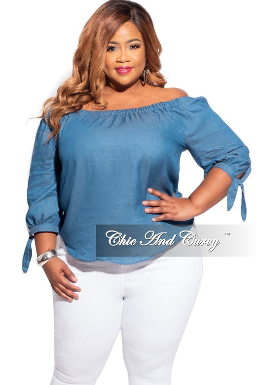 New Plus Size Off The Shoulder Top in Chambray