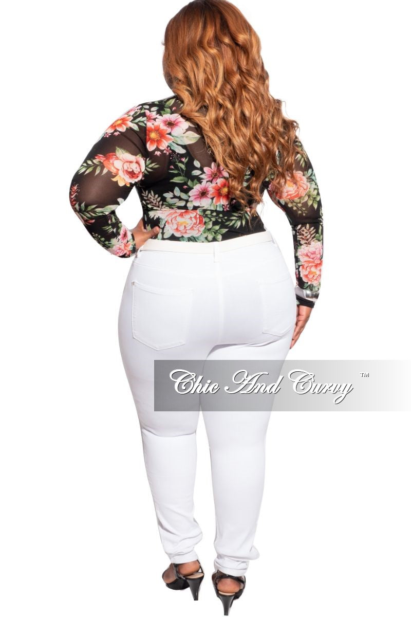 Final Sale Plus Size Sheer Mesh Top in Black Floral Print