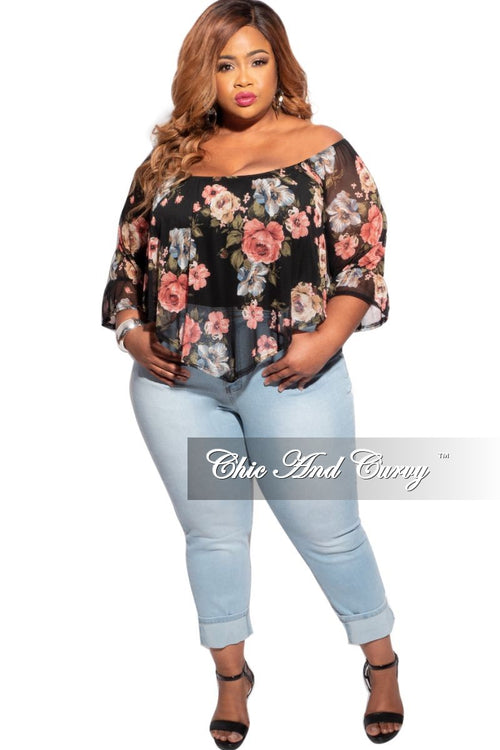 Final Sale Plus Size Sheer Mesh Off The Shoulder Bodysuit in Black Floral Print