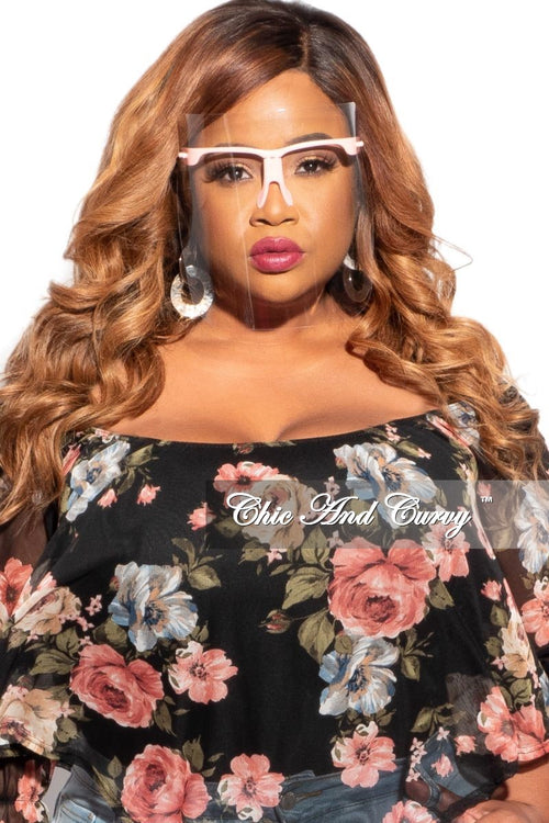 Final Sale Plus Size Exotic Shades Face Shield with Pink Framing