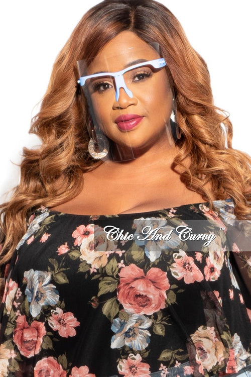 Final Sale Plus Size Exotic Shades Face Shield with Light Blue Framing