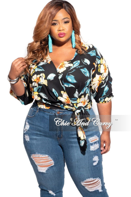 New Plus Size Faux Wrap Top in Black with Aqua Floral Print