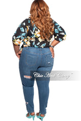 Final Sale Plus Size Distressed Jeans in Medium Denim