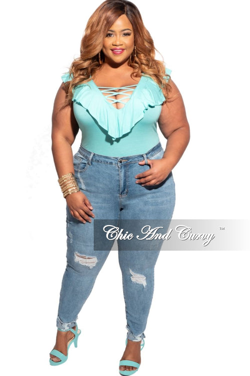 Final Sale Plus Size Bodysuit with Criss Cross Front in Aqua