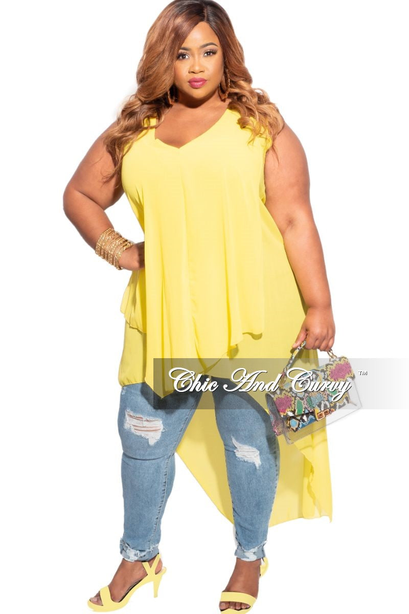 Final Sale Plus Size Sleeveless Chiffon Top in Yellow