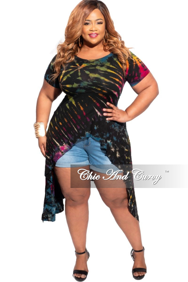 New Plus Size High-Low Midi Top in Black Rainbow