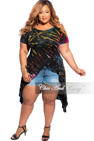 New Plus Size High Waist Distressed Jeans in Med Blue