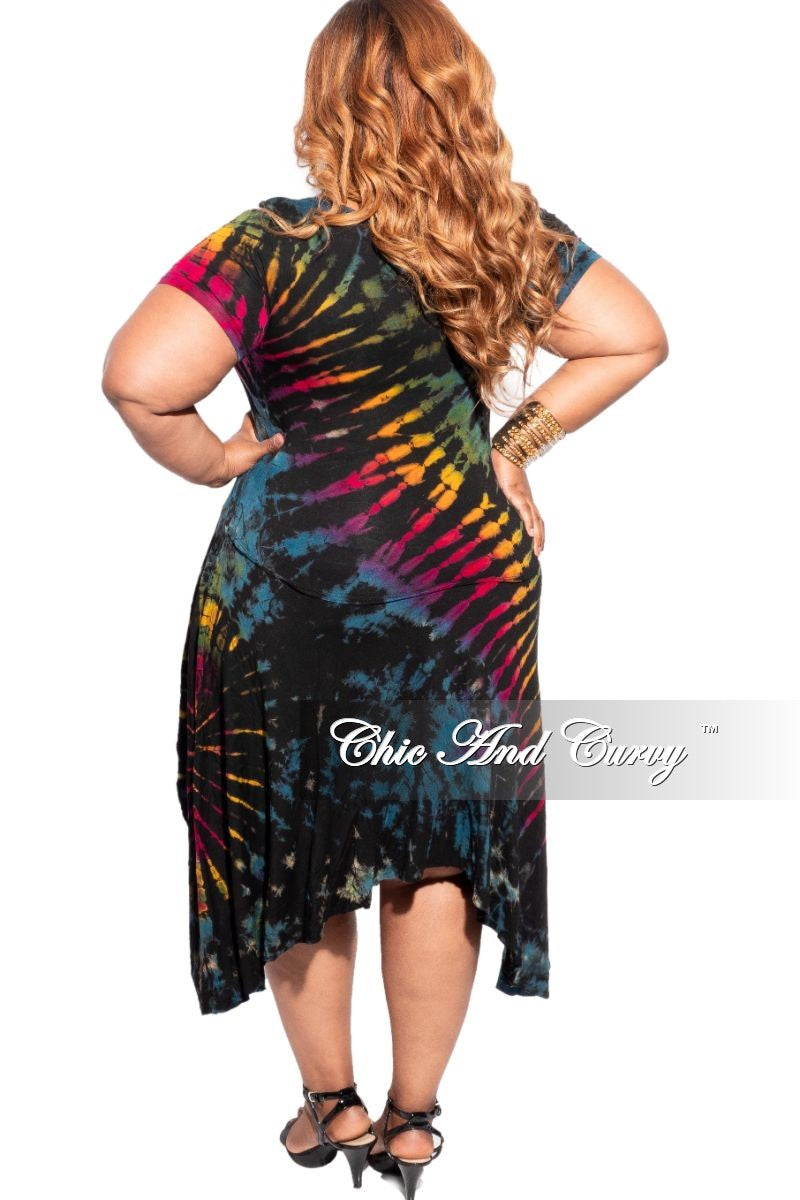 New Plus Size High-Low Midi Top in Black Rainbow or Blue Rainbow Print