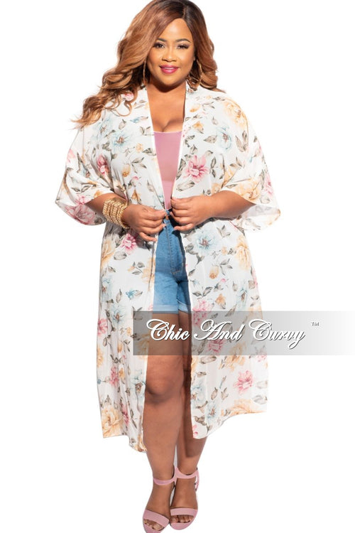 Final Sale Plus Size 3/4 Sleeve Chiffon Duster in Ivory and Multicolor Floral Print
