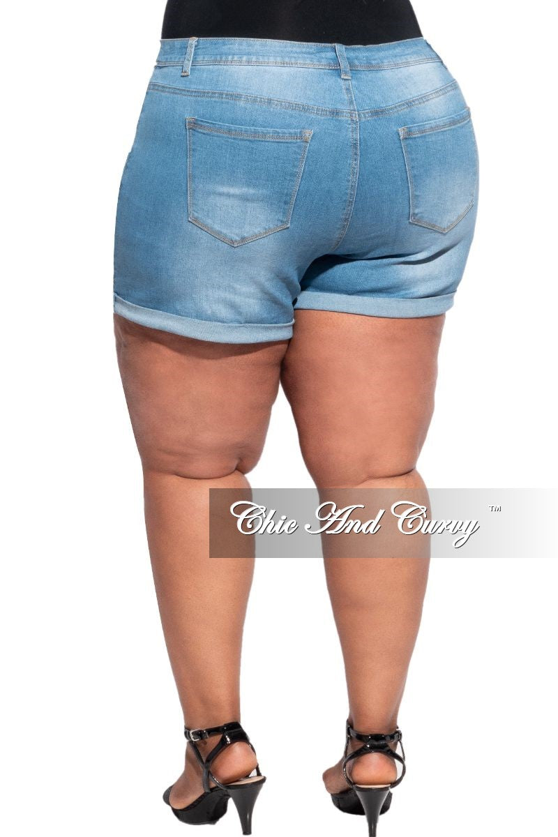 Final Sale Plus Size Distressed Jean Shorts in Medium Denim