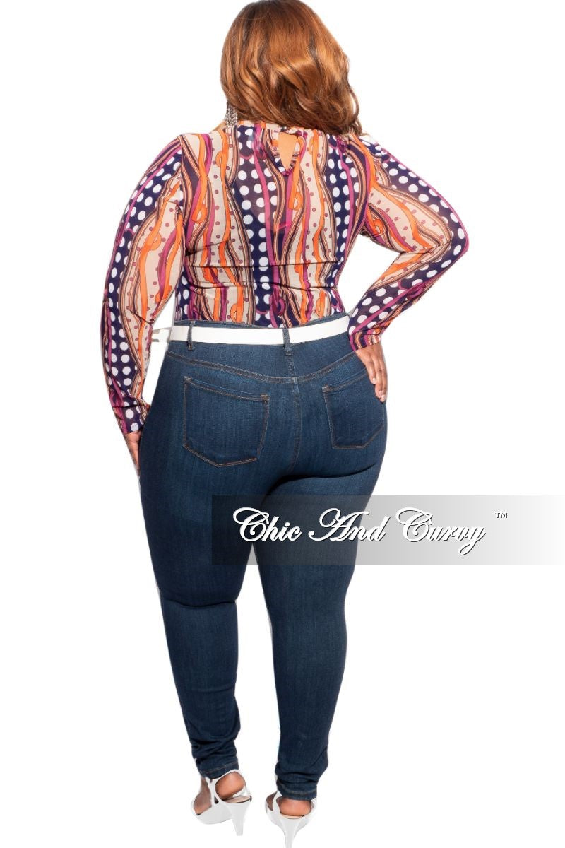 New Plus Size Long Sleeve Bodysuit with Polka Dots & Multi-Colors