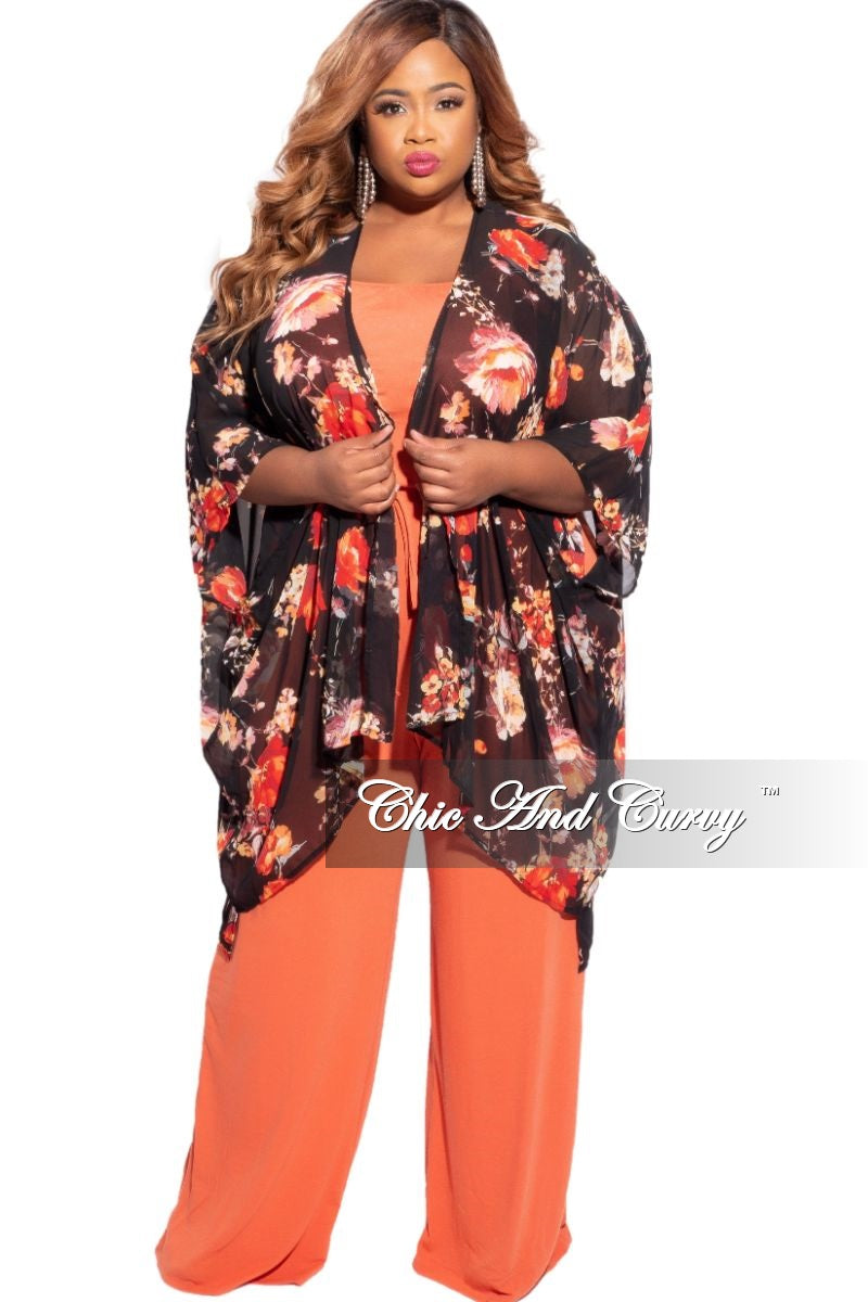New Plus Size 3/4 Sleeve Chiffon Duster with Black Background and Red & Orange Floral Print