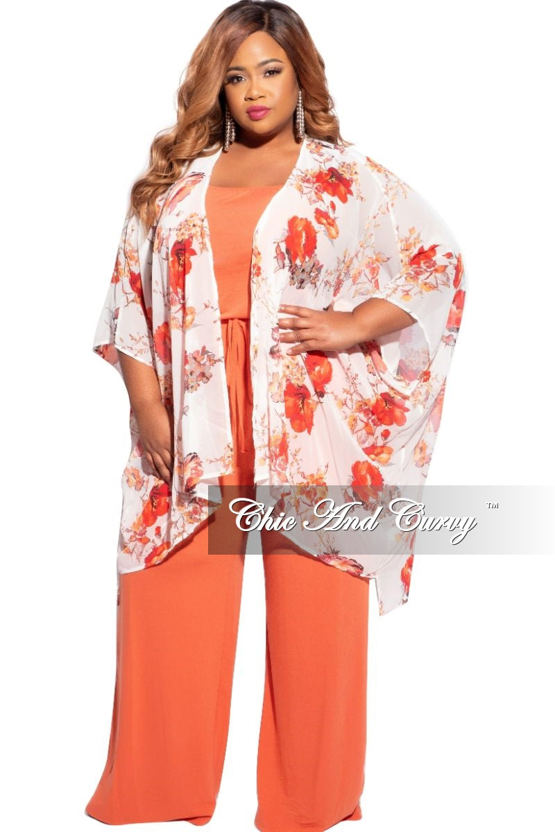 Final Sale Plus Size 3/4 Sleeve Chiffon Duster in Ivory/Red & Orange Floral Print