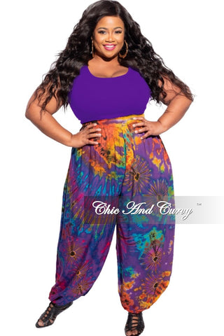 New Plus Size 2-Piece Set Wide Neck Top and Ruched Pants in Pink and Blue Tie Dye