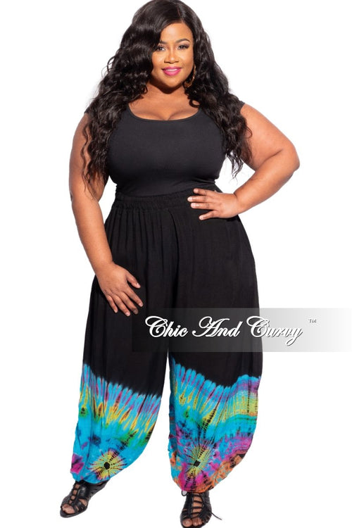 New Plus Size Harem Pants in Blue Rainbow