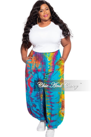 New Plus Size Bell Bottom Pants Blue & White Tie Dye Print