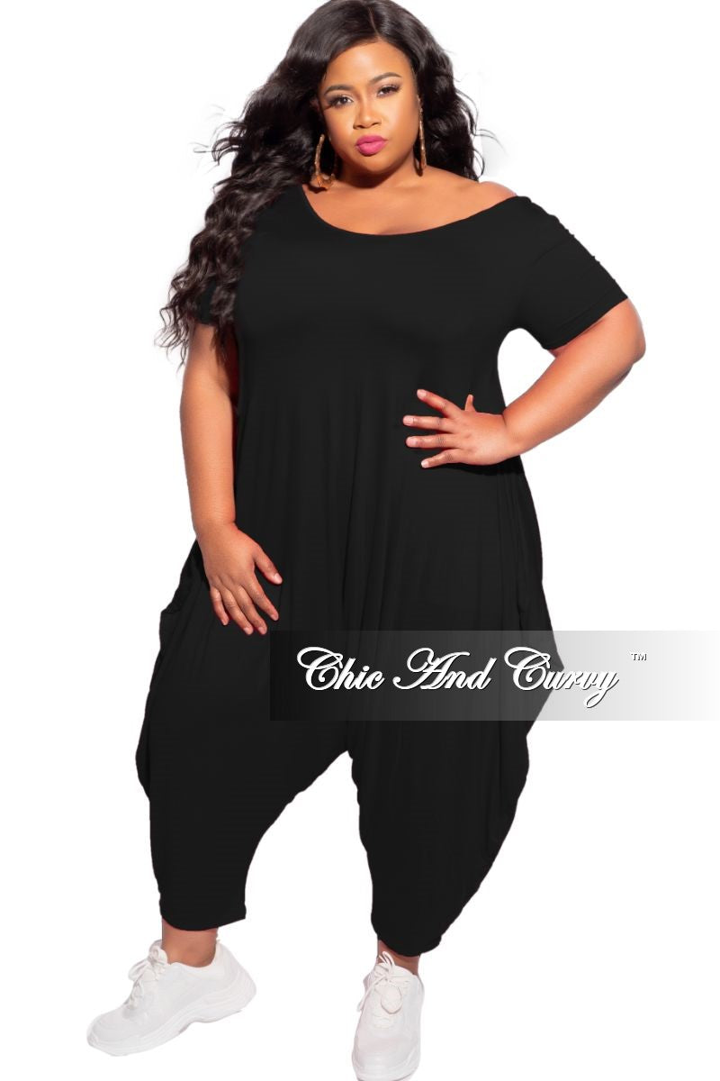 New Plus Size Scoop Neck Harem Jumpsuit in Black