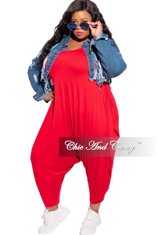 New Plus Size Scoop Neck Harem Jumpsuit in Red