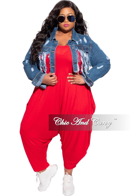 Final Sale Plus Size Distressed Fringe Crop Jacket in Denim