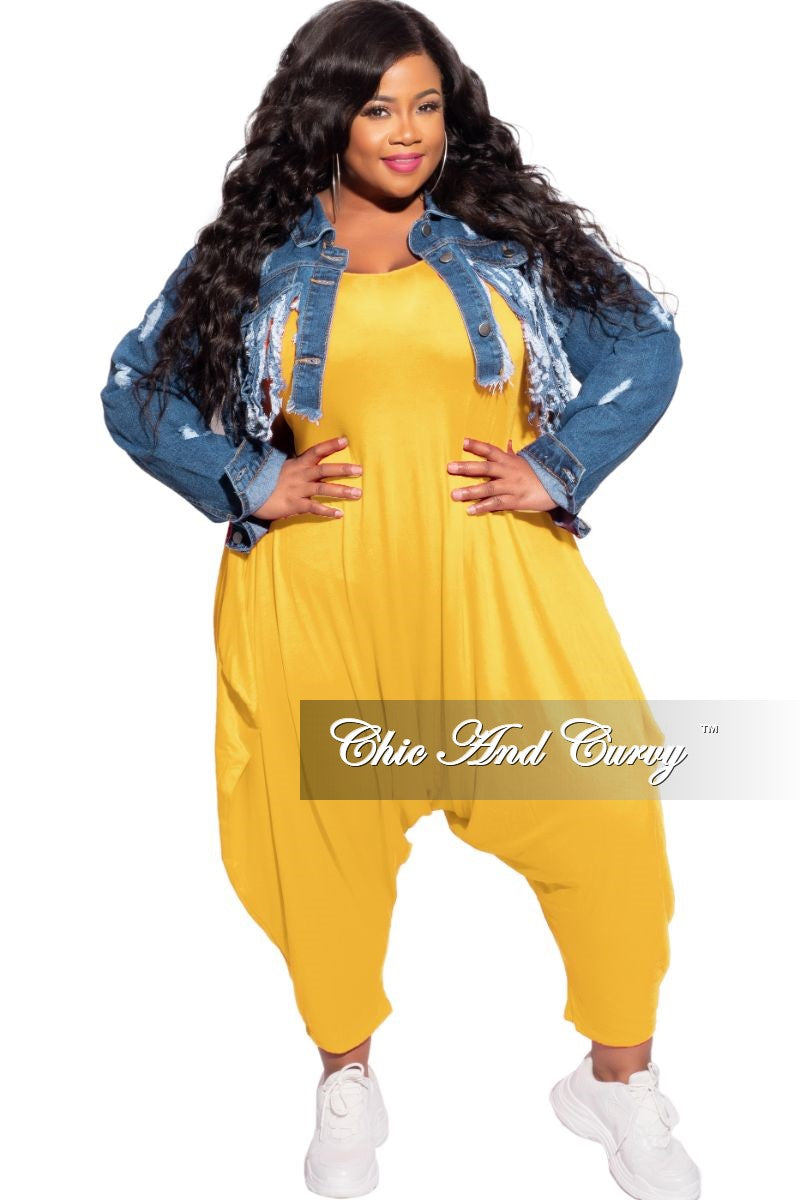 New Plus Size Scoop Neck Harem Jumpsuit in Mustard