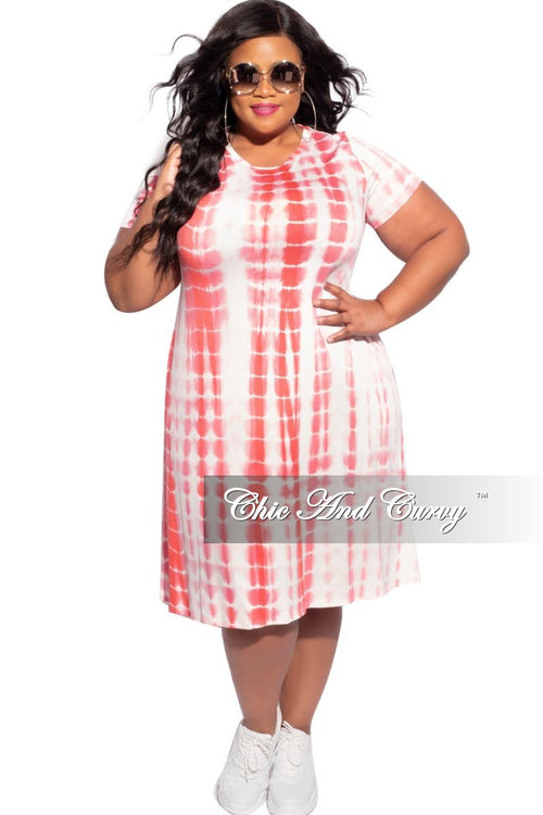 New Plus Size Short Sleeve Dress in Pink & White Tie Dye