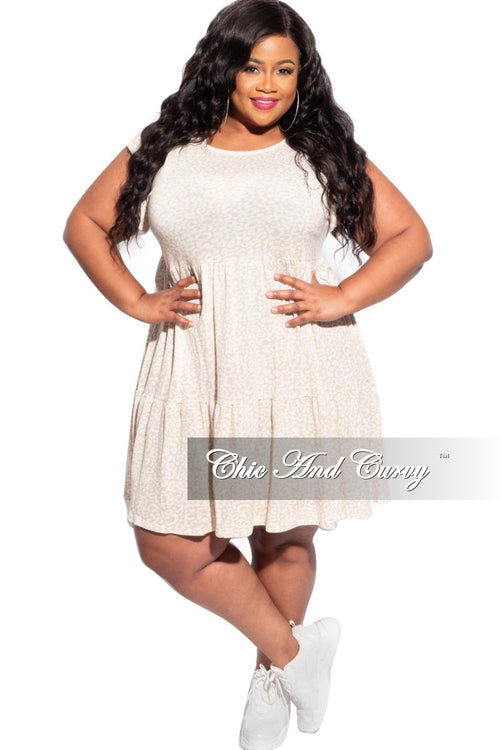 Final Sale Plus Size Baby Doll Dress in Beige and Ivory