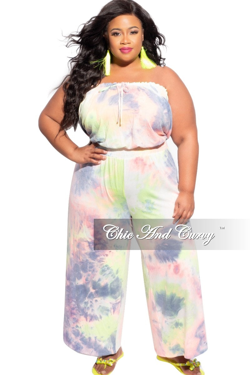 New Plus Size Strapless Cropped Jumpsuit in Rainbow Tie Dye