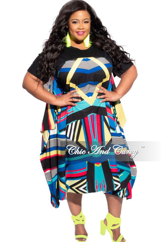 Final Sale Plus Size Faux Wrap Bell Sleeve High-Low Top in White, Blue, Peach Water Print