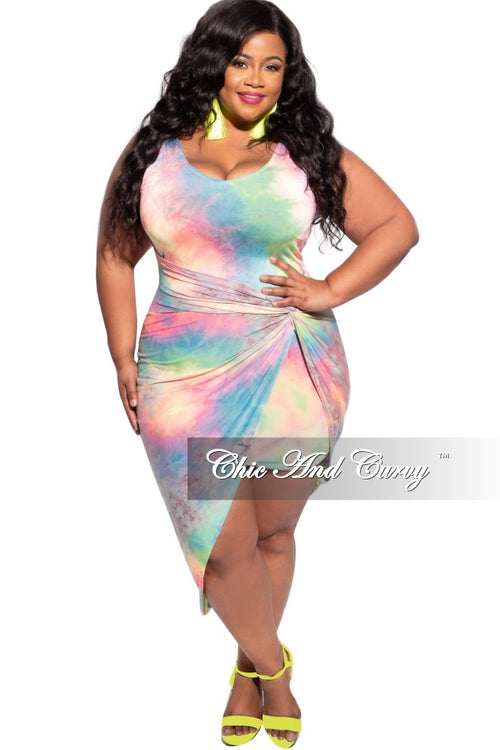 New Plus Size Sleeveless Deep-V Neck Bodycon Dress in Rainbow Cloud Print