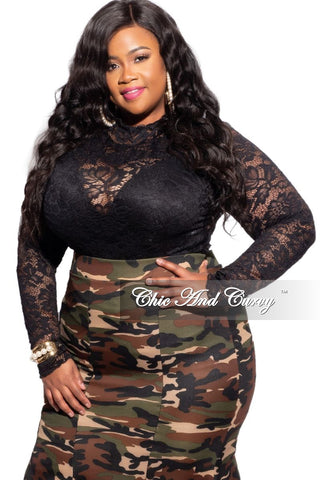 Final Sale Plus Size Fishnet Eyelett Bodysuit in Black