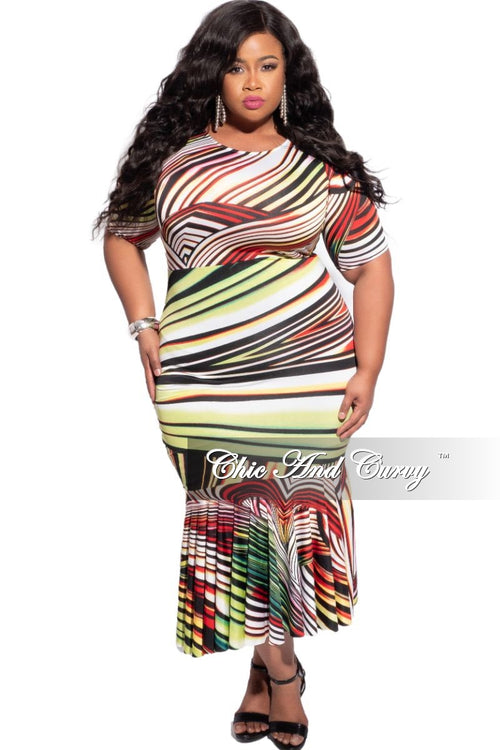 Final Sale Plus Size Mermaid Bottom Bodycon Dress in Multicolor Stripe Print