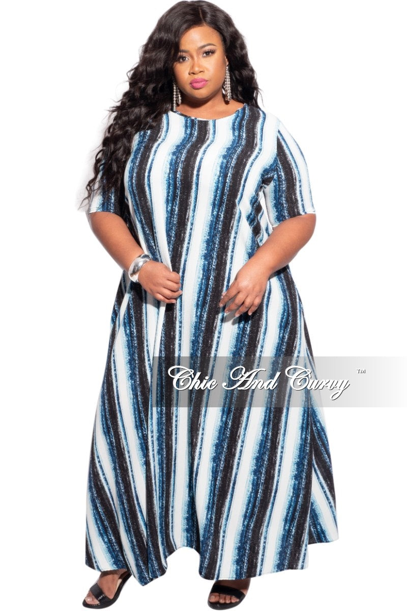 New Plus Size Maxi Dress with Blue Stripes