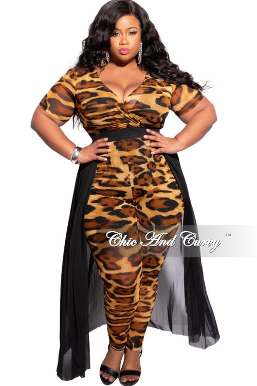 Final Sale Plus Mesh Jumpsuit in Animal Print with Attached Black Skirt