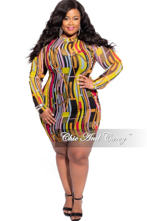 Final Sale Plus Size Mesh Mock Neck BodyCon Dress in Multicolor Print