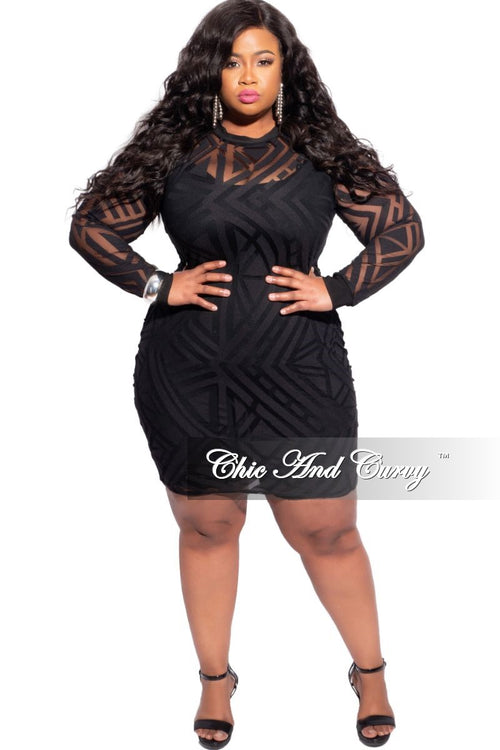 Final Sale Plus Size Sheer Mesh BodyCon Dress in Black Geometric Print