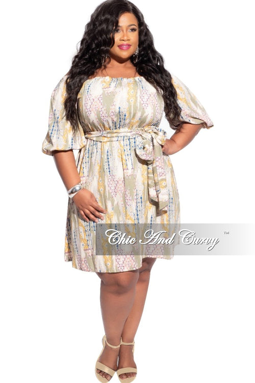 New Plus Size Boho Off The Shoulder Dress in Multi-Color Print