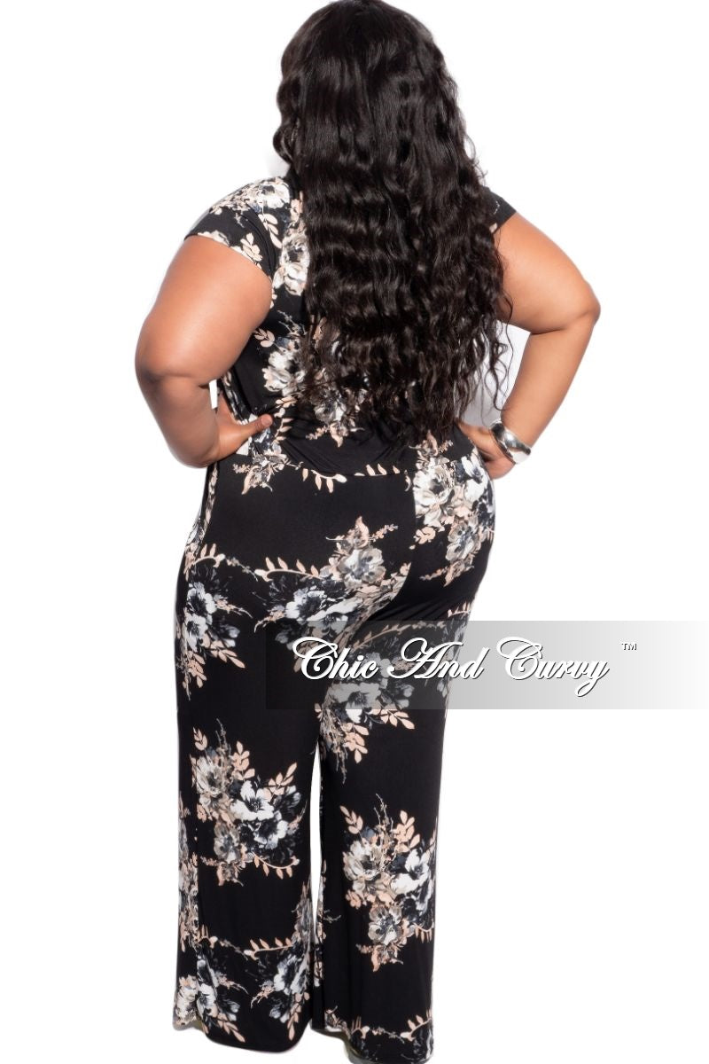 New Plus Size Cropped Jumpsuit in Black Floral Print