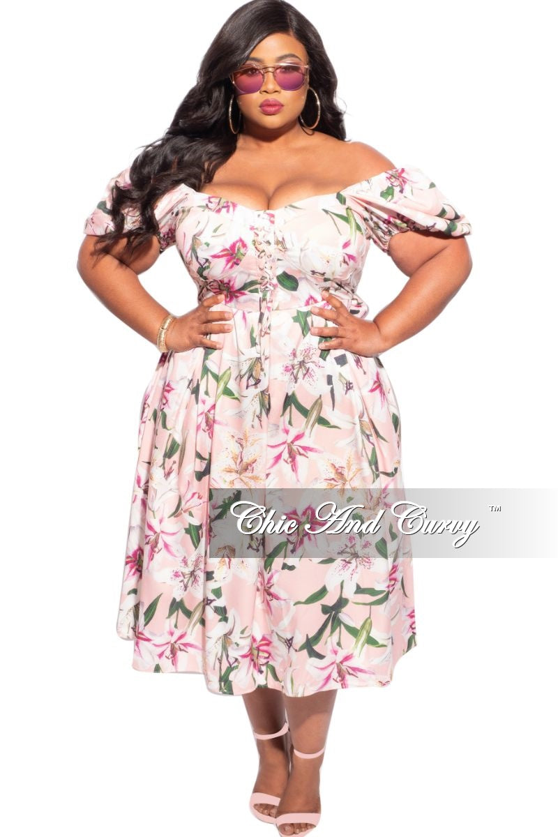 Final Sale Plus Size Off the Shoulder Dress in Pink & White Floral Print