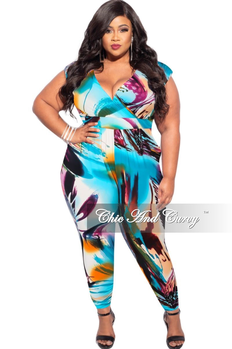 New Plus Size Faux Wrap Pocket Jumpsuit in Orange, Green & White Design Print