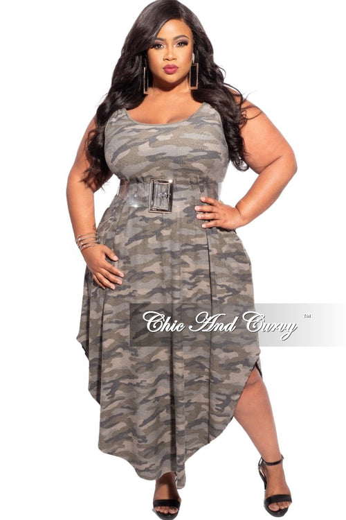 New Plus Size Asymmetrical Hem Tank Dress in Camouflage Print