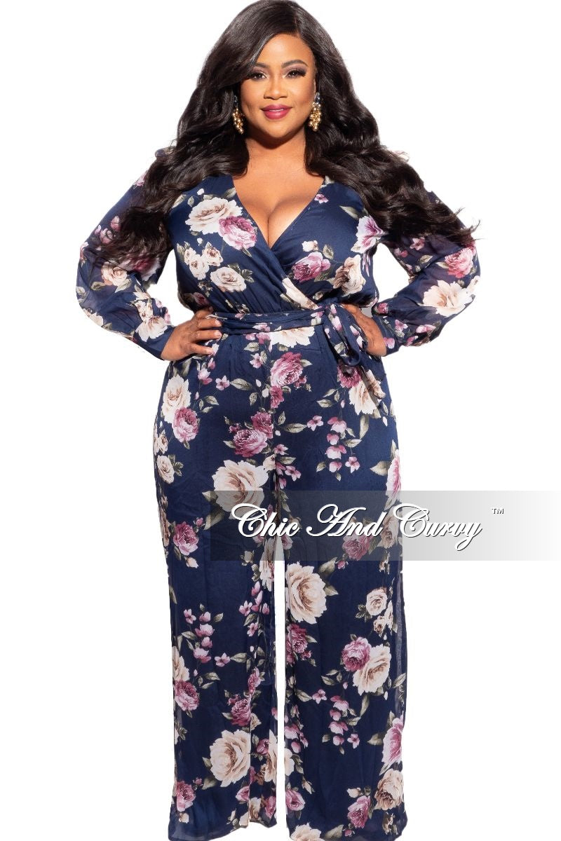 New Plus Size Chiffon Jumpsuit in Navy, Pink & Ivory Floral Print
