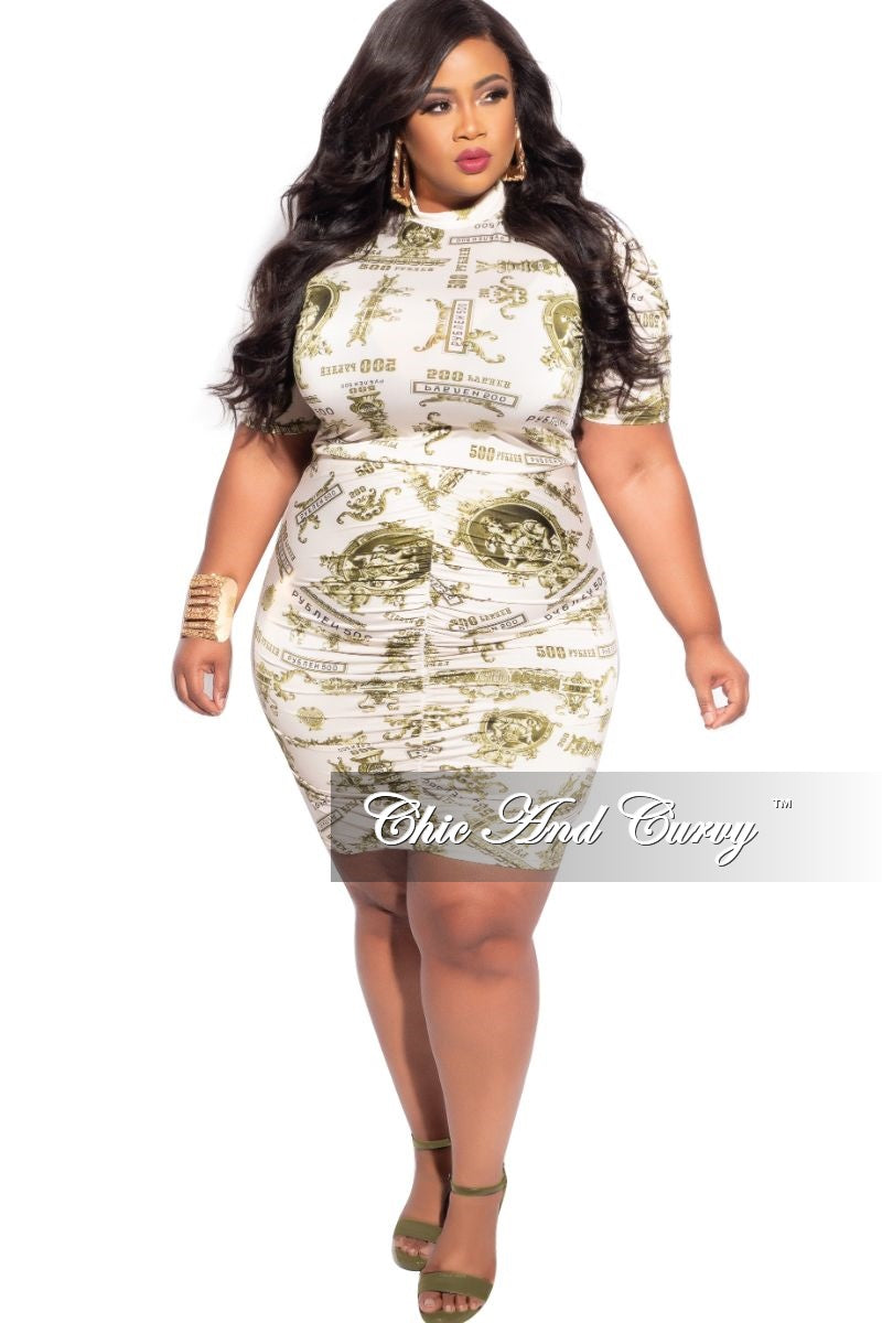 Final Sale Plus Size 2-Piece Top & Skirt BodyCon Set in Off White & Olive Money Print