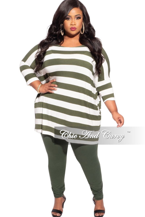 New Plus Size 2-Piece Thick Striped Top and Solid Legging Set in Army Green & Ivory