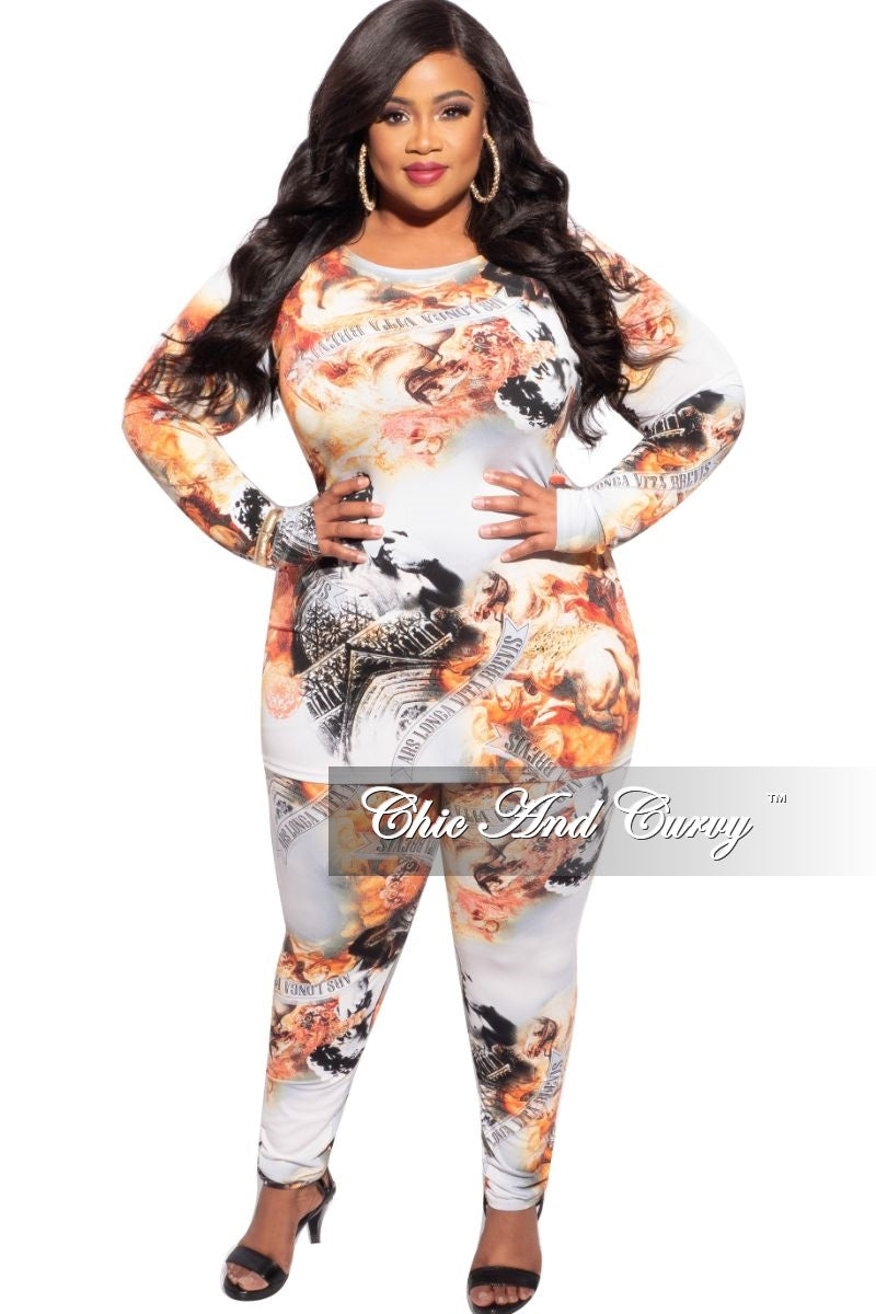 Final Sale Plus Size 2-Piece Top and Legging Set in Neapolitan Print