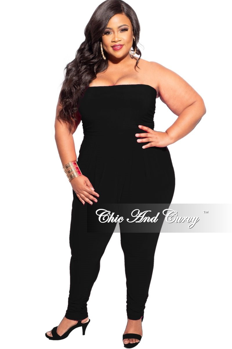 New Plus Size Strapless Harem Jumpsuit in Black