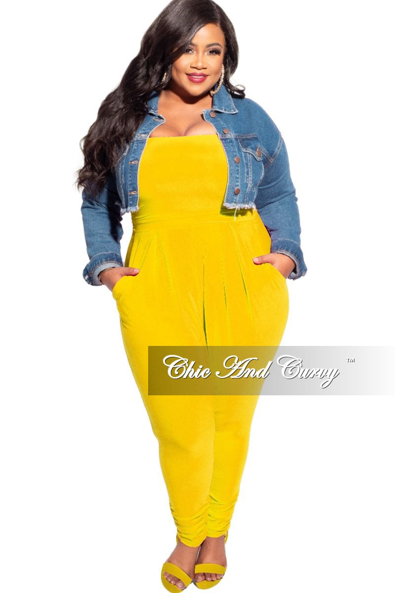 New Plus Size Strapless Harem Jumpsuit in Yellow
