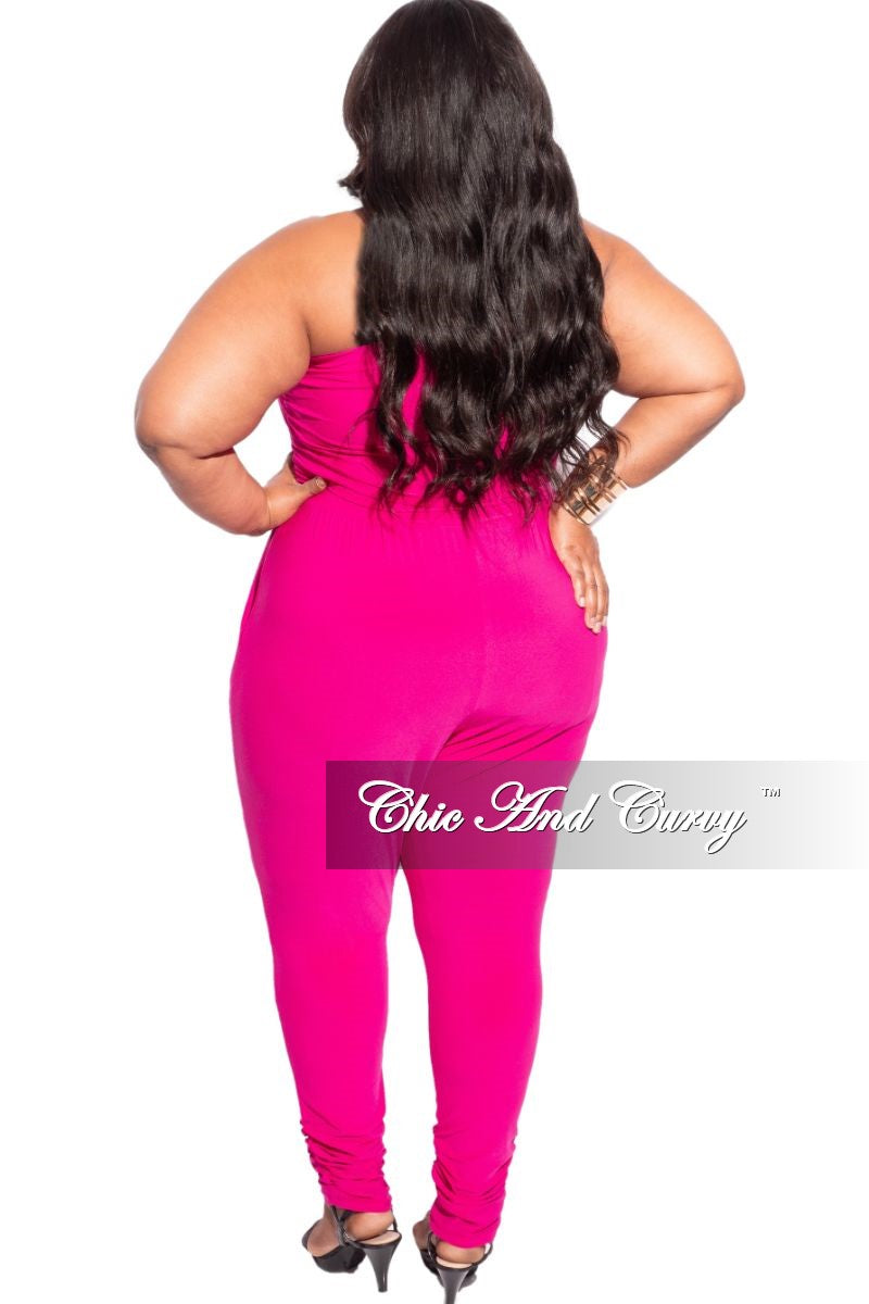 New Plus Size Strapless Harem Jumpsuit in Hot Pink