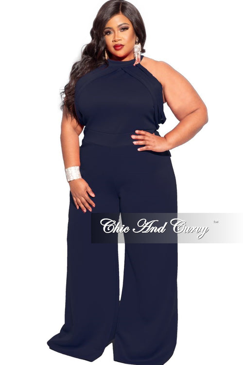 New Plus Size Sleeveless Scuba Jumpsuit in Navy